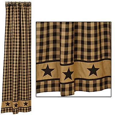 Country House new Country black/khaki STAR shower curtain / nice