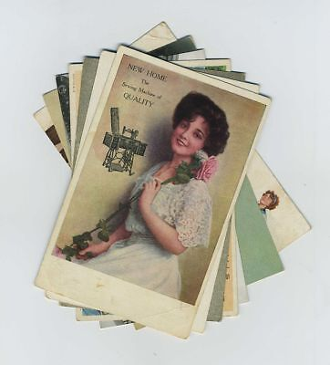 Mixed Lot 7 Early Advertising Postcards IL MN NY Sewing Machine Bread etc bv2014