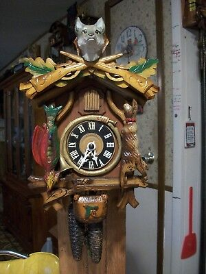 Vintage Rare Hunter Trophy Wolf  Cuckoo Clock            Germany
