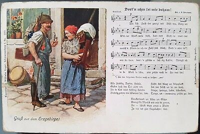 Germany Old Antique Greetings From Erzgebirge Folk Song Verse Postcard Cover