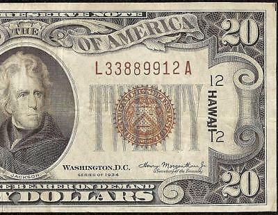 1934 $20 Dollar Bill Wwii Ww2 Hawaii Brown Seal Mule Note Currency Paper Money