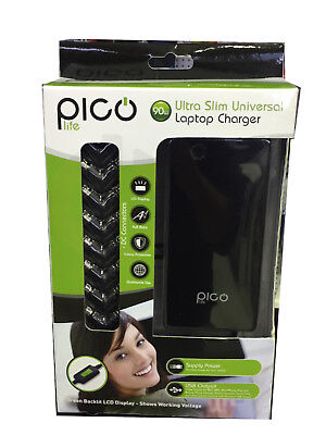 Pico Life Ultra Slim Universal Laptop Charger- Pl90Wslc- 8 Connectors Included
