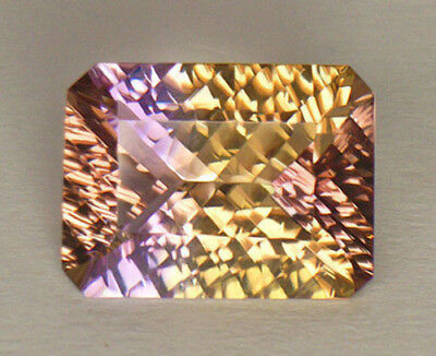 8.88Ct Spectacular Concave Emerald Cut Purple & Golden Yellow Bolivian Ametrine