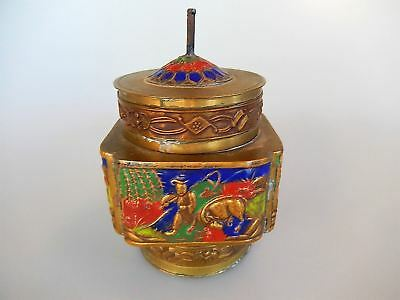 Chinese Enamel Brass Champleve Tea Spice Caddy 1920s
