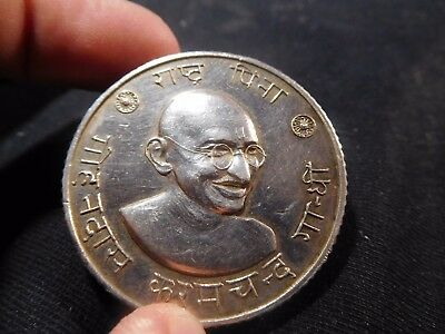 """INV #T97 India Gandhi """"Father of The Nation"""" Silver Medal 38mm 58.33g"""