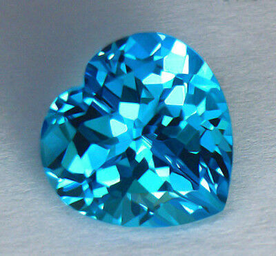 11.73Ct Flawless Clarity *aaa* Vivid Electric Blue Portuguese Heart Shape Topaz