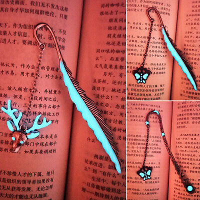 GLOW IN THE DARK Leaf Feaher Book Mark With Bat Deer Butterfly Metal Bookmark