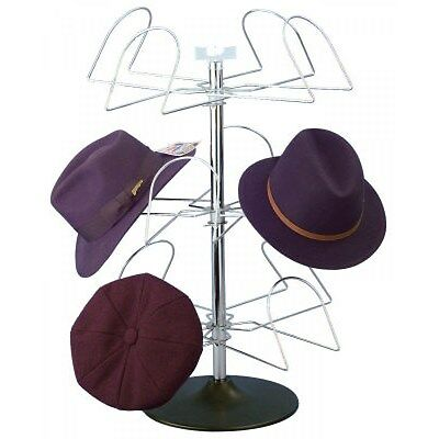 Counter Men's Hat Display Rack - (Chrome Finish w/ Black Plastic Base)