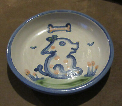 M.A. HADLEY POTTERY DOG DISH FOOD BOWL Signed MA Blue Cute Excellent Puppy
