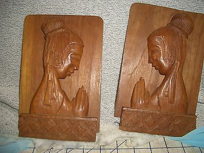 Hand Carved Lady in Prayer Omh Shanti Wood Bookends Laos Vietnam Thailand VTG