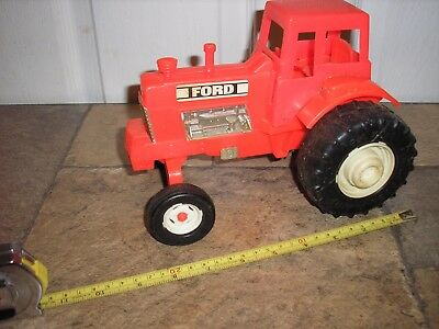 "RARE Vintage 1/16 1/18 ? 9"" long Ford Plastic Red Farm Tractor Free Shipping"