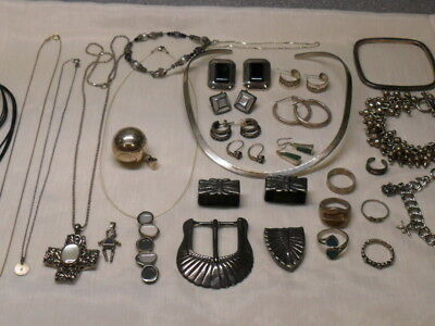 Vintage Sterling silver 925 lot Jewelry resale rings, bracelets & more 296 grams