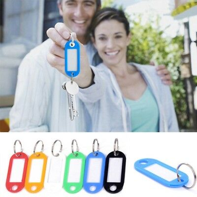 10Pcs Plastic Keychain Key Split Ring ID Tags Name Card Label Language 5x2cm