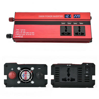 2000W Car Off-Road Power Inverter Converter DC 12V To AC 220V 4 USB Port Charger