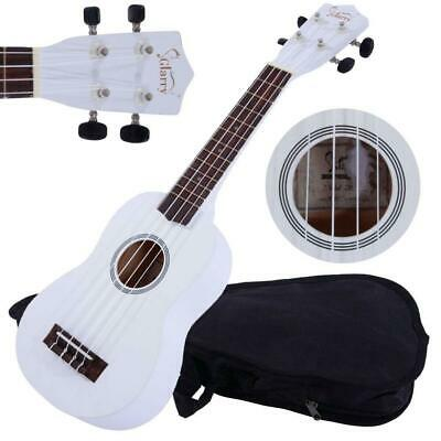 "21"" White Soprano Ukulele Guitar Basswood 12 Frets Hawaiian Instrument w/ Bag"