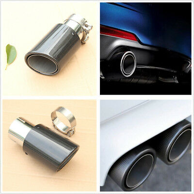 63MM Real Carbon Fiber Gloss Car Rear Exhaust Pipe Muffler Tip Cover Waterproof