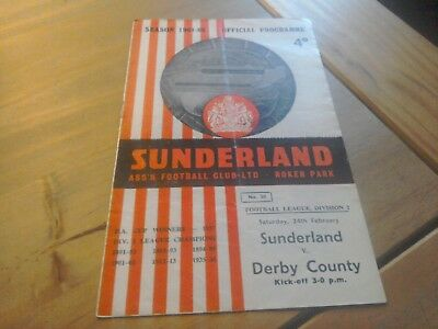 Sunderland v Derby County Football Programme 24/2/1962.