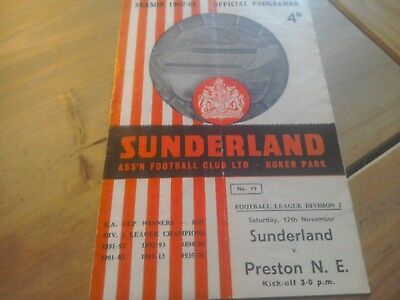 Sunderland v Preston North End Football Programme 17/11/1962.