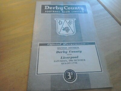 Derby County v Liverpool Football Programme 19/10/1957.