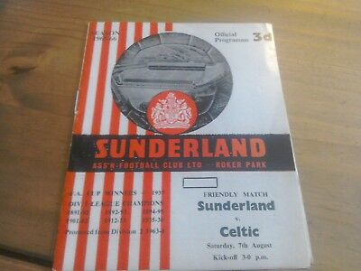 Sunderland v Celtic Friendly Football Programme 7/8/1965.