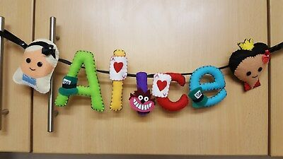 Alice In Wonderland Handmade Personalised Name Banners