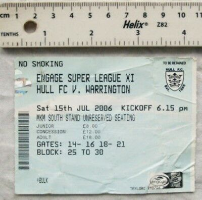 2006 ticket Hull FC v. Warrington