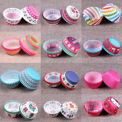 100pcs Rainbow Paper Cupcake Cases Cake Baking Muffin Dessert Wedding Party Xmas