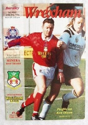 1994 programme Wrexham v. Burnley