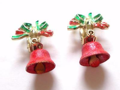 Vintage 70's Red Green Enamel Christmas Bell Gold Tone Clip On Earrings