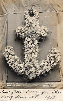 Floral Anchor Shaped  Wreath, Sent From Derby For Kings Funeral 1910