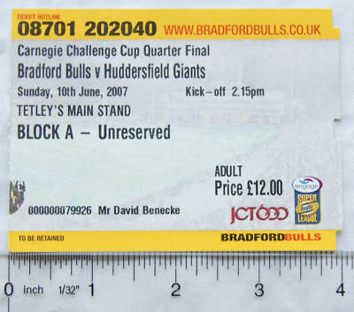 2007 ticket Bradford Bulls v Huddersfield Giants Quarter final, adult