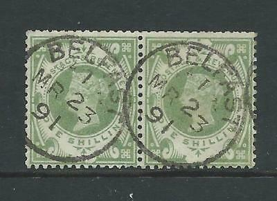 SG211 Pair of good used 1/- green QV Jubilee stamps with nice CDS.