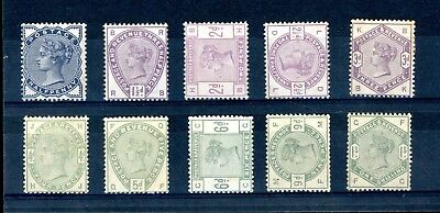 Great Britain  1883  Lilac/Green  Set of 10  SG 187/196  L.H.M.   (O1346)