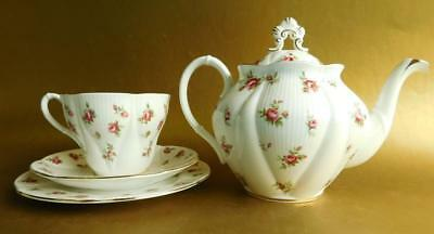 Pretty Porcelain Royal Albert Rosalie Teapot and Tea Cup Trio Tea for One!