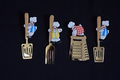 4x Unused Vintage AVON 1987 Collectable Fridge Magnets Chefs & Kitchen Utensils