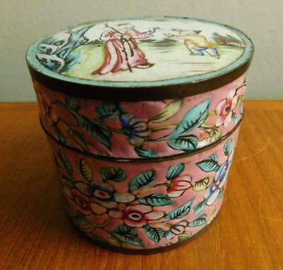 Chinese Canton Enamel on Copper Export Ware Trinket Box c1900s