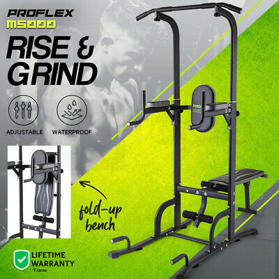 PROFLEX Power Tower Pull Up Multi Station Chin Up Weight Bench  Knee Home Gym
