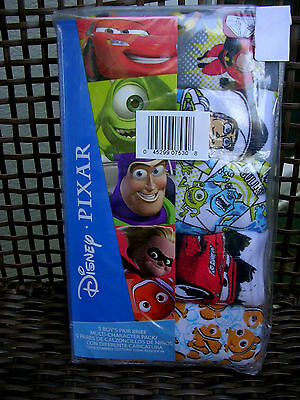 Multi -Characters(Nemo/cars/incred) Boys 5 Pair Pkg.  Briefs  Size 6  Nwt #n1