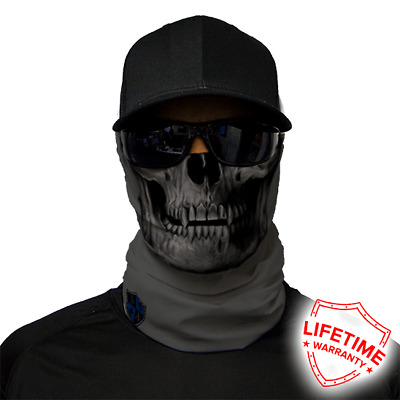 MOTORCYCLE FACE MASK - GREY SKULL - (Moto, Hunting, Fishing, Paintball)