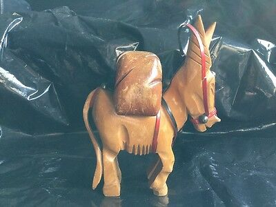 Wooden Donkey With Pack Vintage Wick Flint Petrol Table Lighter Unfired Rare.
