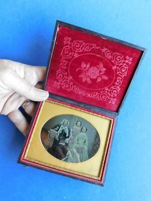 Large Format Tinted Glass Plate Daguerreotype Family Portrait Photograph in Case
