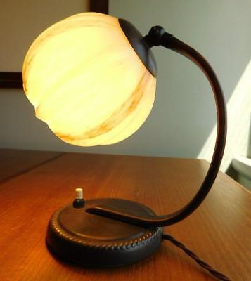 Lovely Art Deco Table or Desk Lamp Mottled Glass Shade c1940s