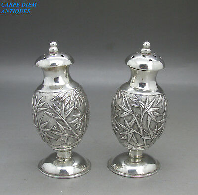 ANTIQUE CHINESE NICE PAIR OF SOLID SILVER EMBOSSED PEPPER POTS, WANG HING c1890