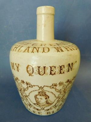 MY QUEEN Highland Whisky Stoneware Whisky Bottle Flagon Jug c1890s