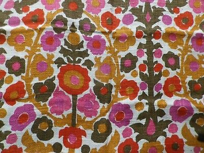 Vintage 1960's Cotton Silk Open Weave Fabric Panel Retro Pink Flower Tree Design
