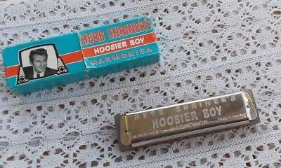 RARE Vintage Herb Shriner's Hoosier Boy Harmonica & Original Box Hohner Key C NR