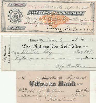 6 Old Checks From, Pennsylvania  6 Different Banks..6 Different Cities
