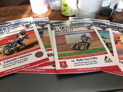 Kent Kings--Speedway Home Programmes From The 2017 Season X 6