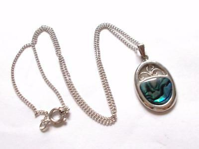 Vintage 1980's Silver Tone Blue Green Abalone Shell Pendant Necklace Chain
