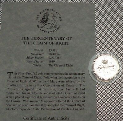 1989 Royal Mint Silver Proof £2 Coin Tercentenary The Claim Of Wrights & Coa